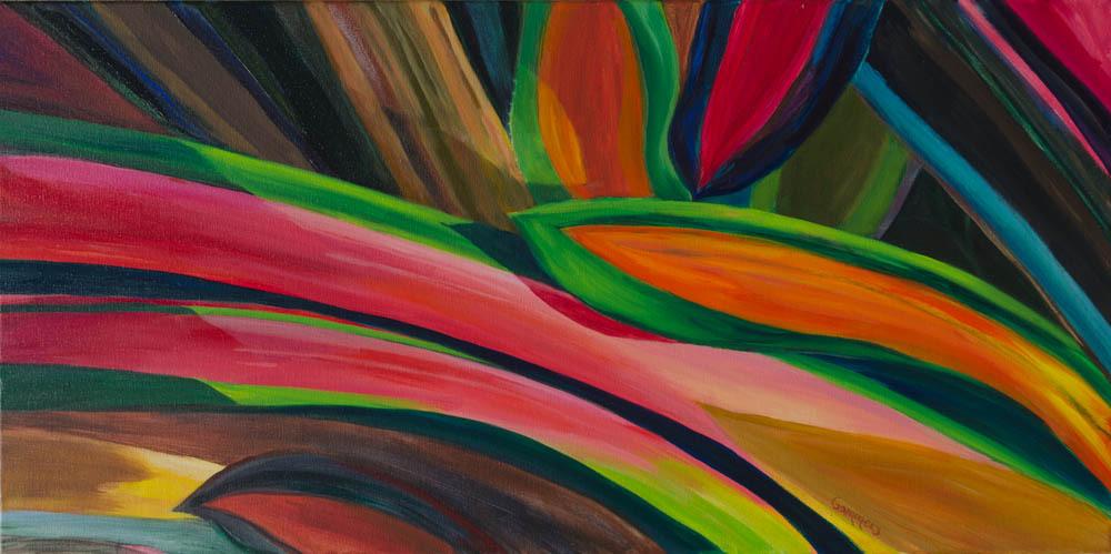 "01 Bromeliad II, Oil on Canvas, 18 x 36"" Gallery wrap $2600"