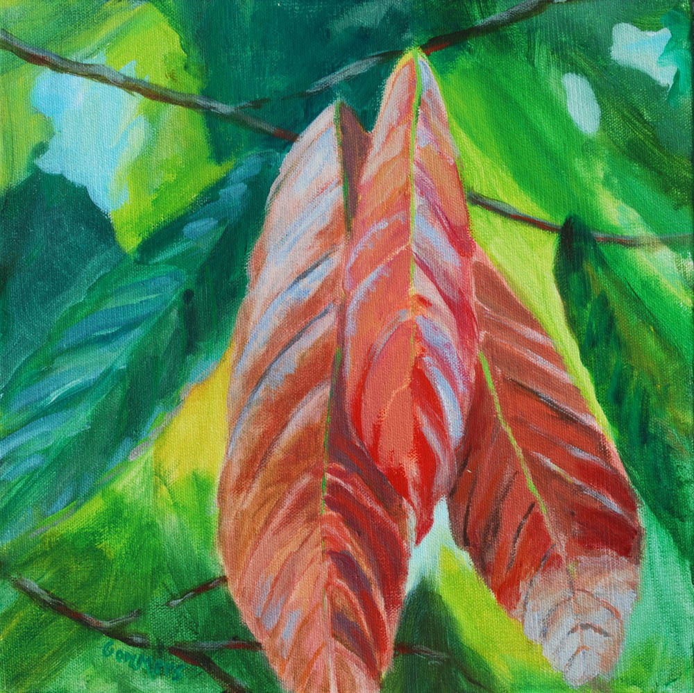 "18 Cacao Tree Leaves, Acrylic on Canvas, 12 x 12"" (sold)"