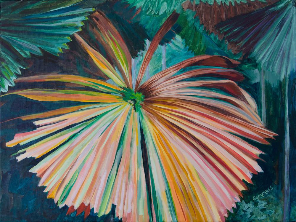 "19 Palm Fanfare, Acrylic on Canvas, 18 x 24"" $1950"