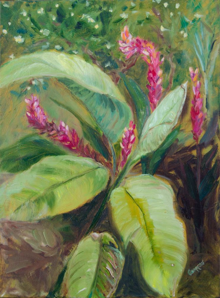 "15 Ginger among Heliconia, Oil on Canvas, 18 x 24"" $ 1950"
