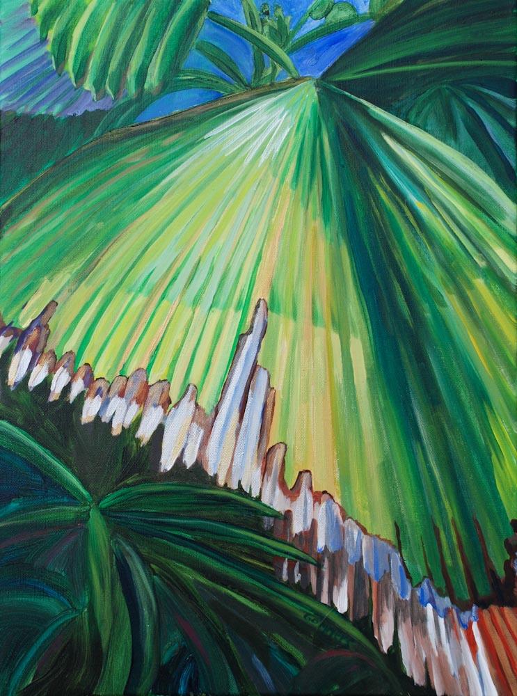 """06 Fan Palm Leaf, Acrylic on canvas, 18 x 24"""" $2000"""