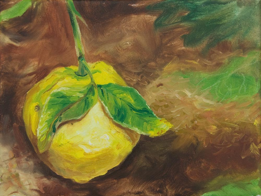 "03 Lemon orchard, Oil on canvas, 9 x 12"" $800"