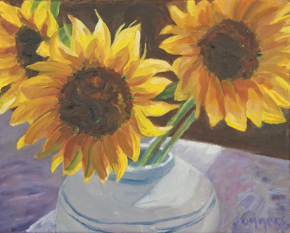 "21 Sunflowers I, Oil on canvas, 8 x 10"" $650"
