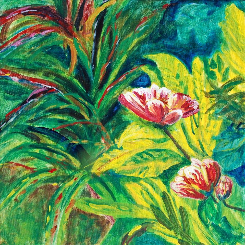 "20 Hibiscus I, Acrylic on canvas, 12 x 12"" $900"