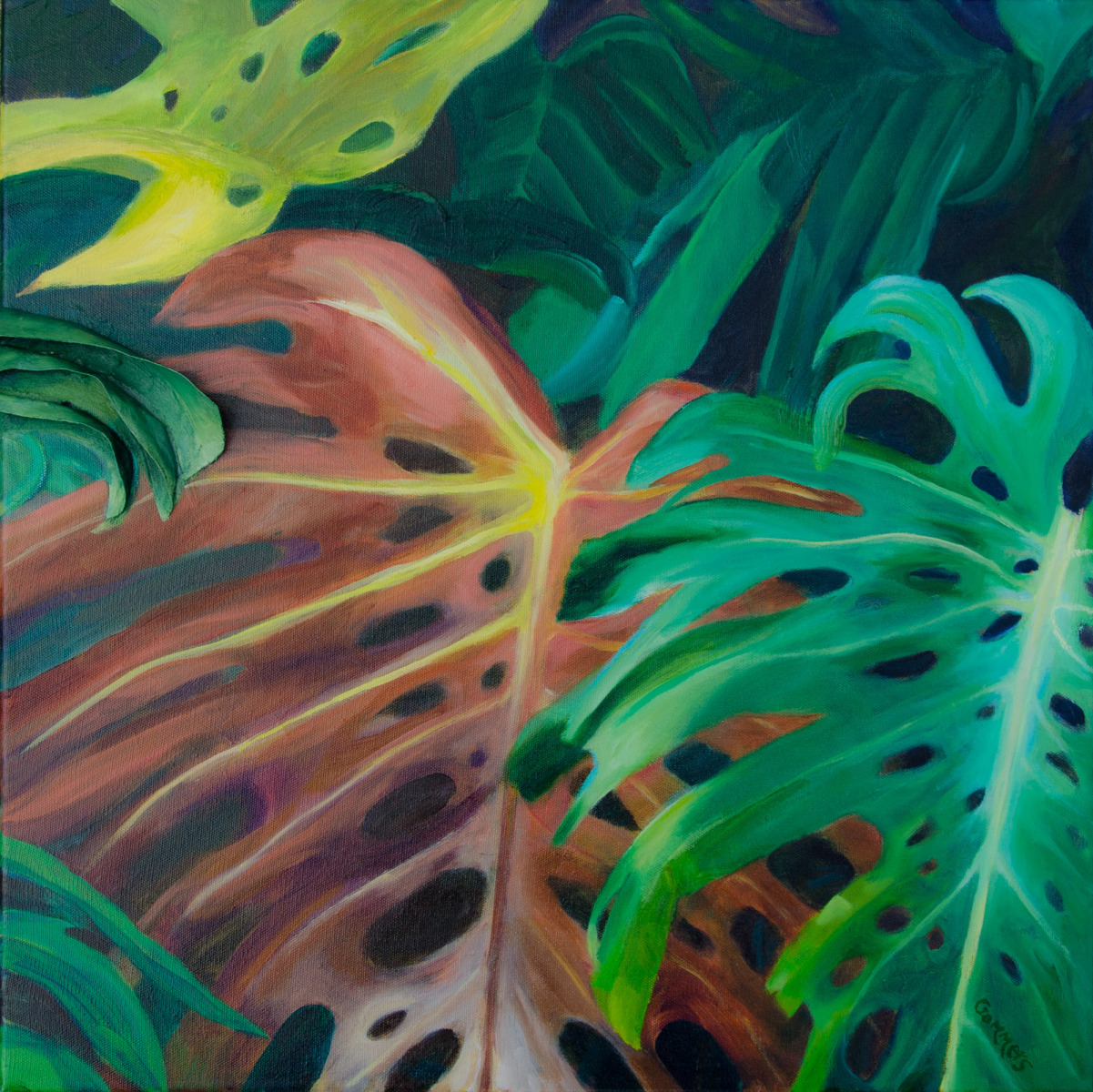 "02 Philodendron Relief, Oil on Canvas, 20 x 20"" Gallery wrap  (Sold)"