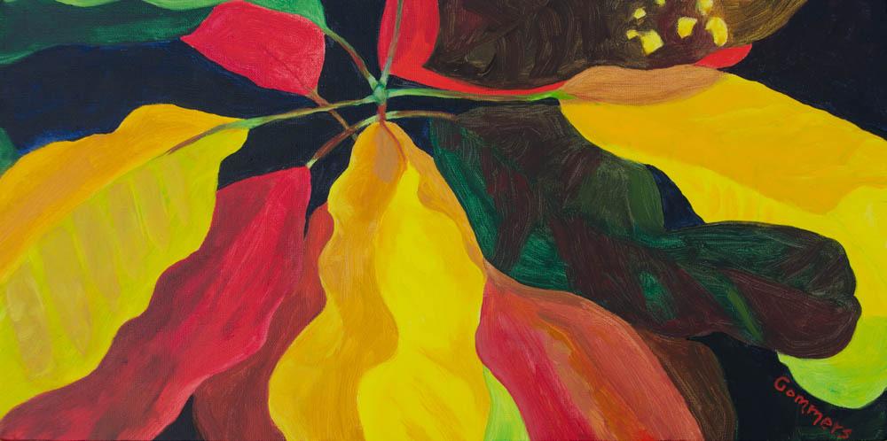 "13 Stoplight Croton I, Acrylic on Canvas, 12x24"" $1600"