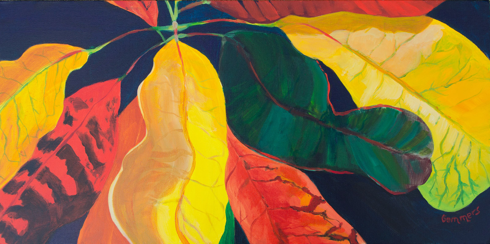 "14 Stoplight Croton II, Acrylic on Canvas, 12x24"" $1600"