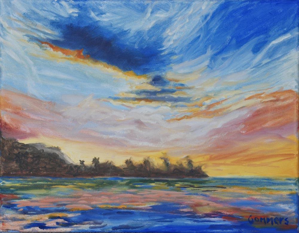 """01 Mokuleia Sunset III, Oil on canvas, 11 x 14"""",  $900"""