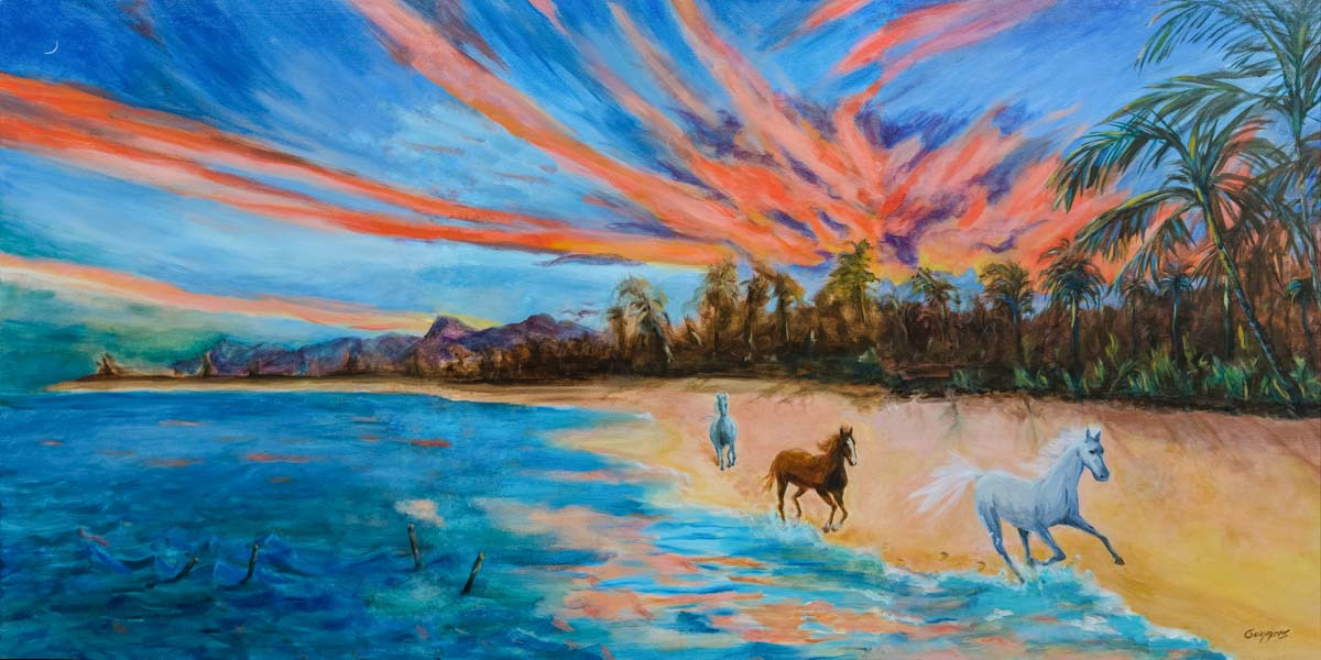 "07 Sun Rising over Mokuleia, Composite view of triptych, 20x40"", acrylic on canvas, (commission)"
