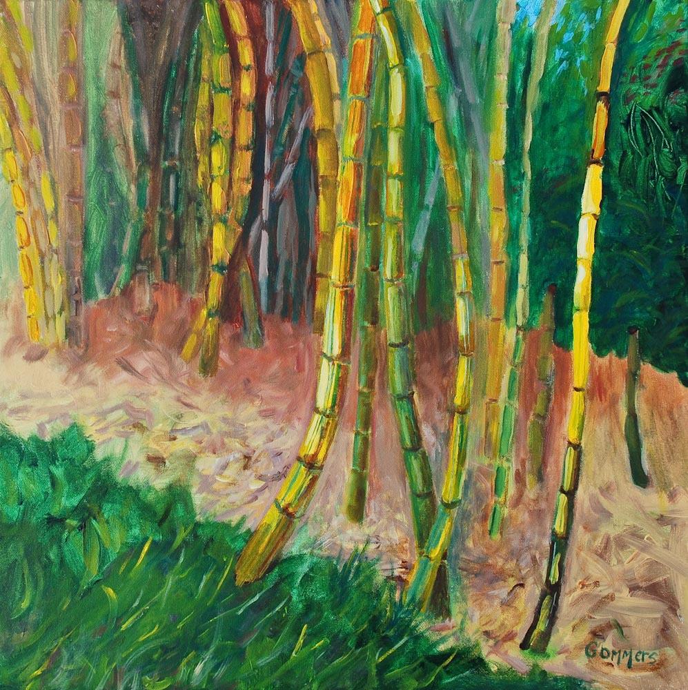 """08 Bamboo Dance, Acrylic on canvas, 20 x 20""""  $1600."""
