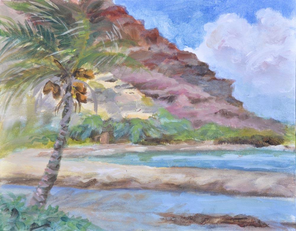 """03 Halawa Valley, Acrylic on canvas board, 11 x 14""""  $900"""