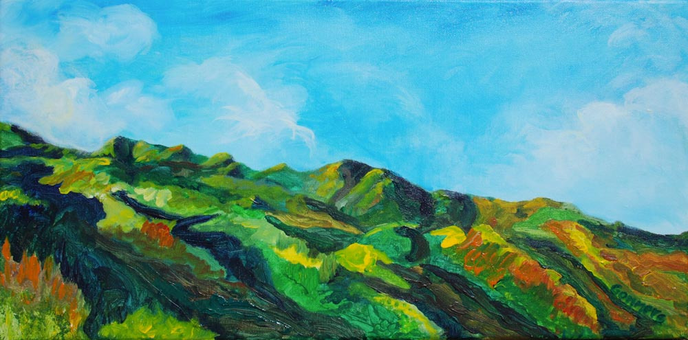 "04 Mt. Ka'ala Foothills, Acrylic on canvas, 12 x 24"",   $1600"