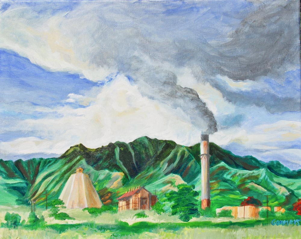 "05 Waialua Sugar Mill, Acrylic on canvas, 16 x 20"" $1600"