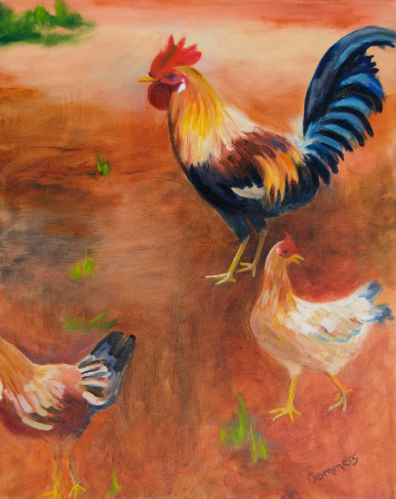 "09 North Shore Rooster, Oil on wrapped canvas, 16x20"" (sold)"