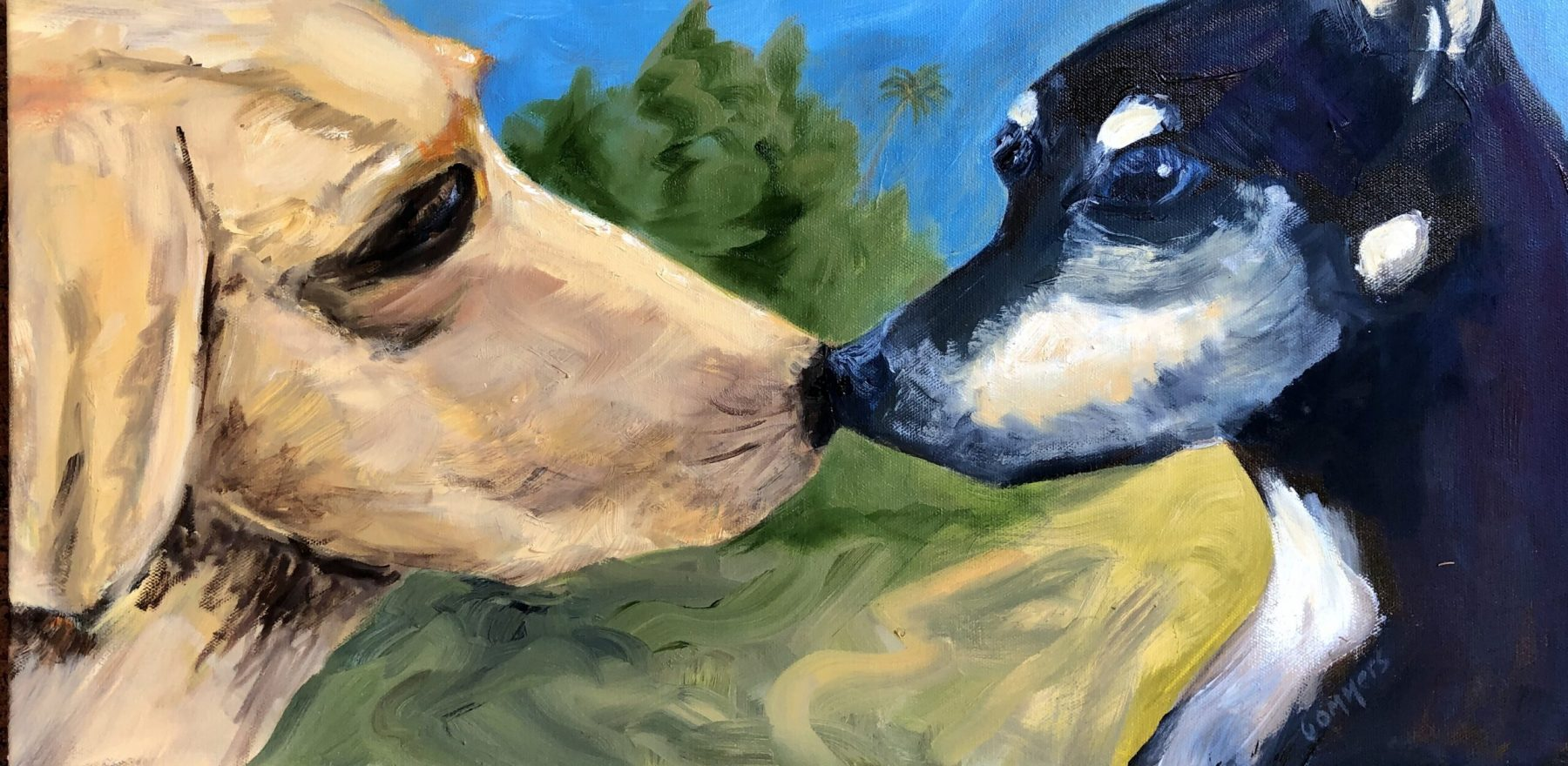 """10 Donna's Dogs, Acrylic on canvas, 10x20"""" (commission)"""
