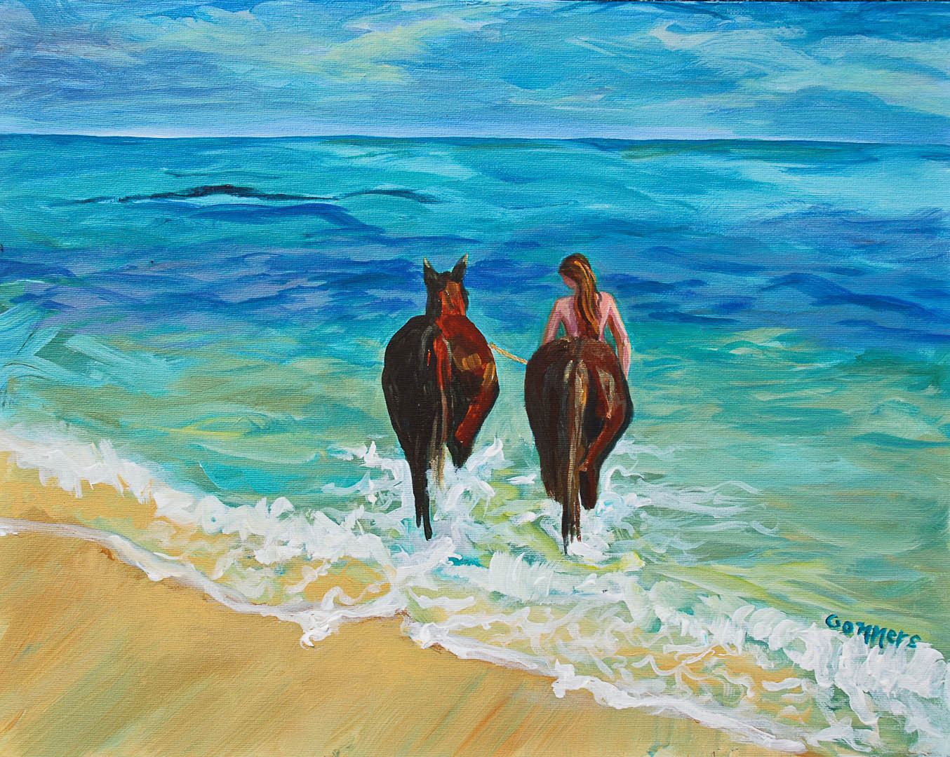 "07 Centaur Woman, Acrylic on canvas board, 16 x 20"" $1600"