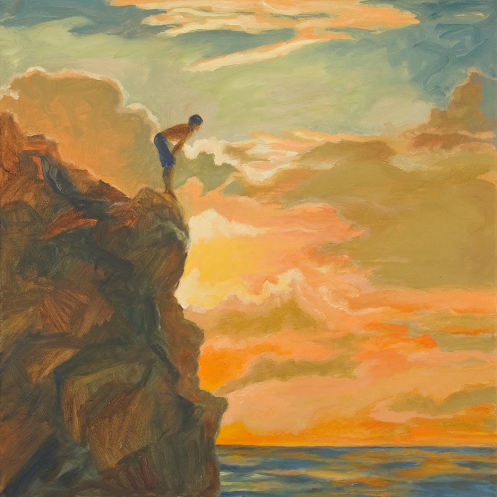 "01 Aaron at Waimea Jump Rock, Oil on canvas, 20 x 20"" (sold)"