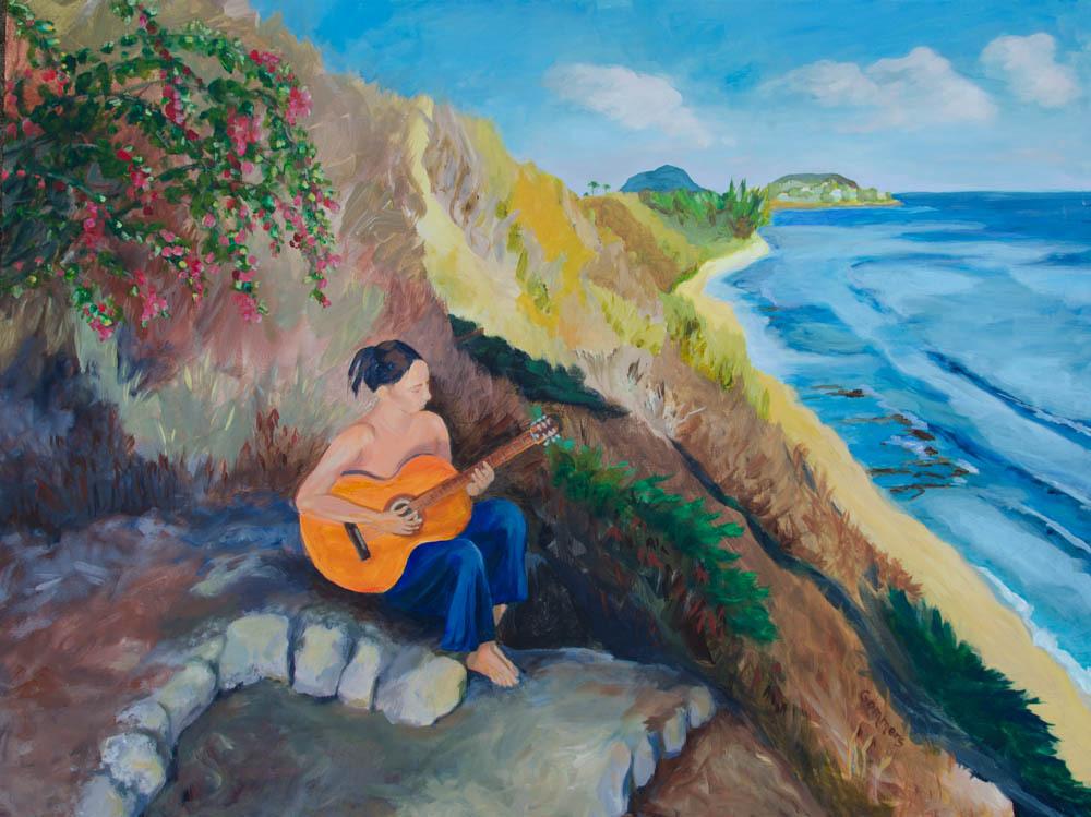 "09 Diamond Head Muse, Acrylic on Canvas, 30x40"", (sold)"