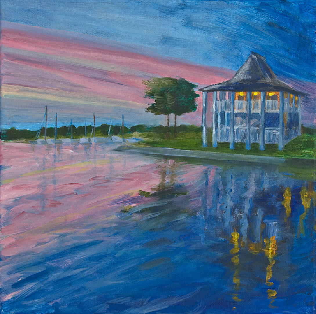 """10 Haleiwa Harbor House, Oil on canvas, 12 x 12""""  (sold)"""
