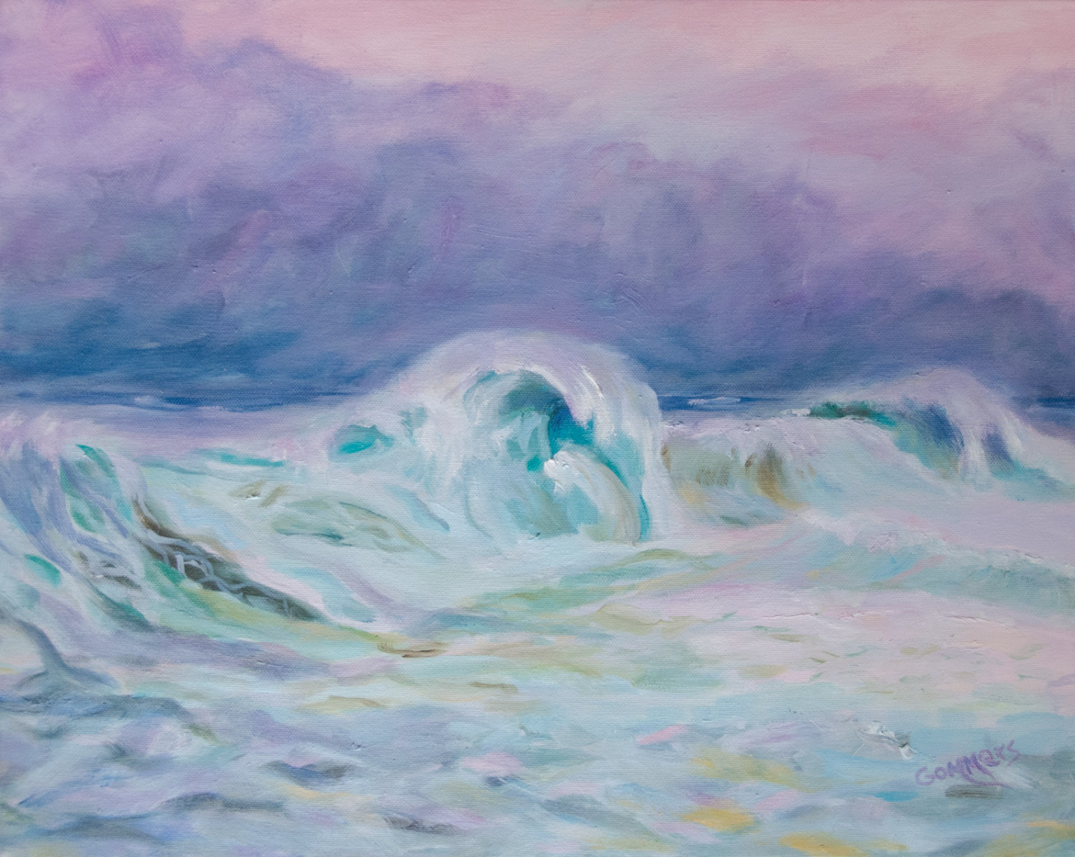 """05 Keiki Slow Rollers at Sunset, Acrylic on Canvas, 16x20"""",  $1600"""