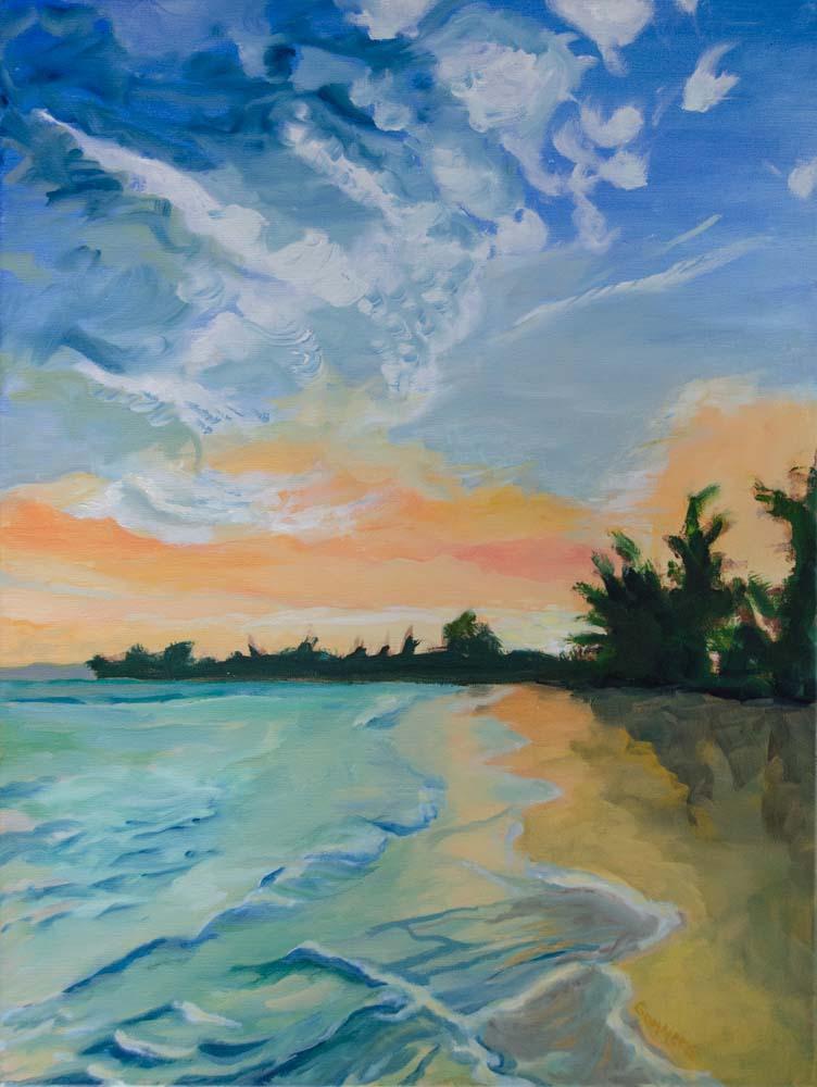 """08 Mokuleia Sunrise, Acrylic on canvas, 18x24"""",  $2000"""