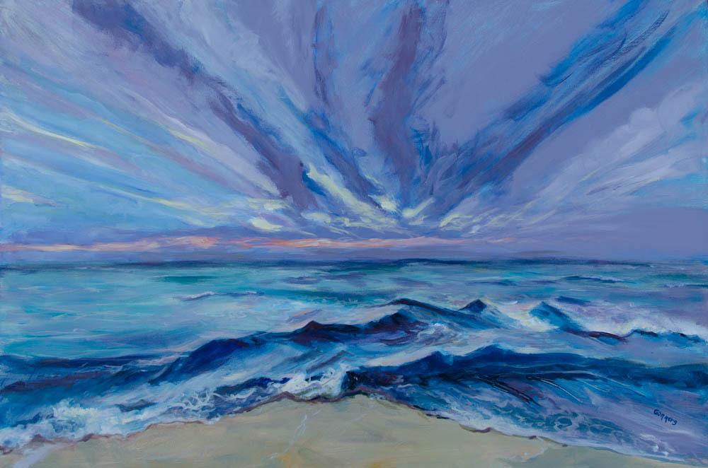 "01 Fan Cloud Sunset, Acrylic on Canvas, 24x36"", $3000"