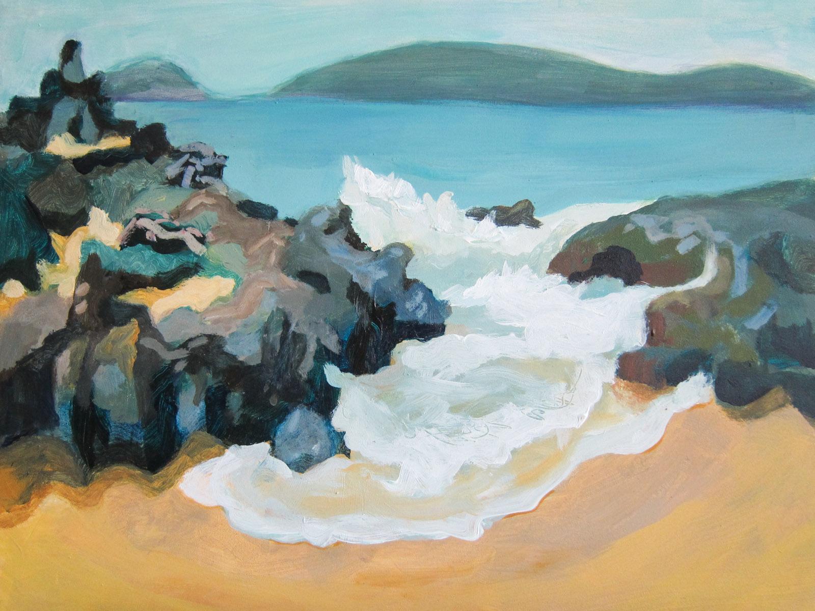 """06 Secret Beach (Maui), acrylic on Canvas 11x14"""",  $1050"""