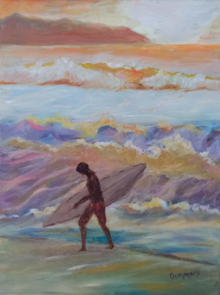 "09 Last Run, Acrylic on canvas, 18 x 24""  $1950"