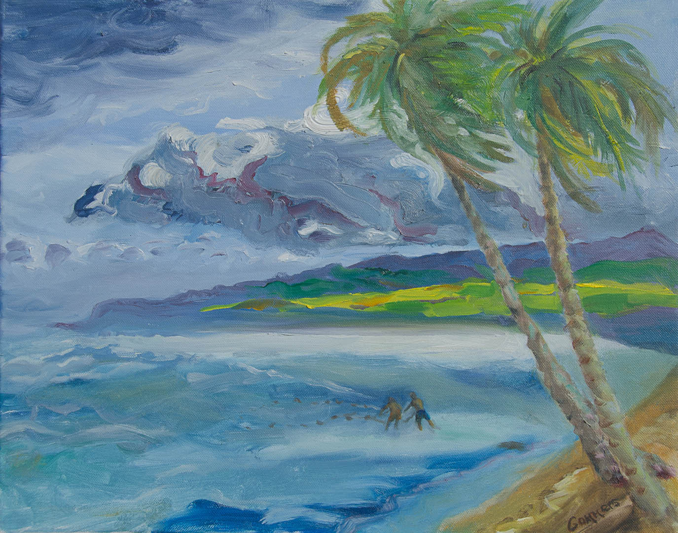 """11 Throwing the Net, North Shore Oil on Canvas, 18 x 24""""  $1900"""