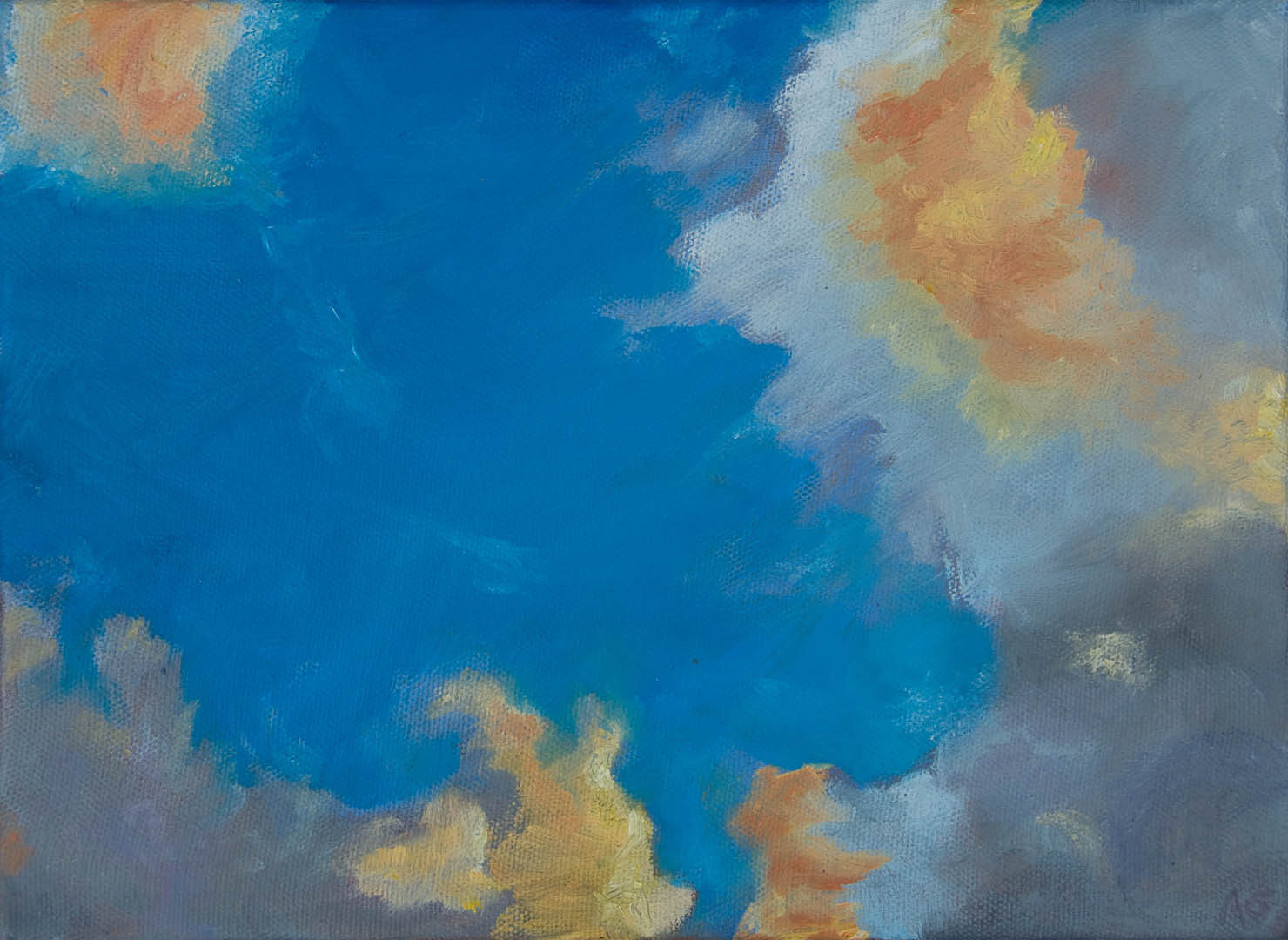 """03 Clouds II, Oil on canvas 9x12"""", (sold)"""