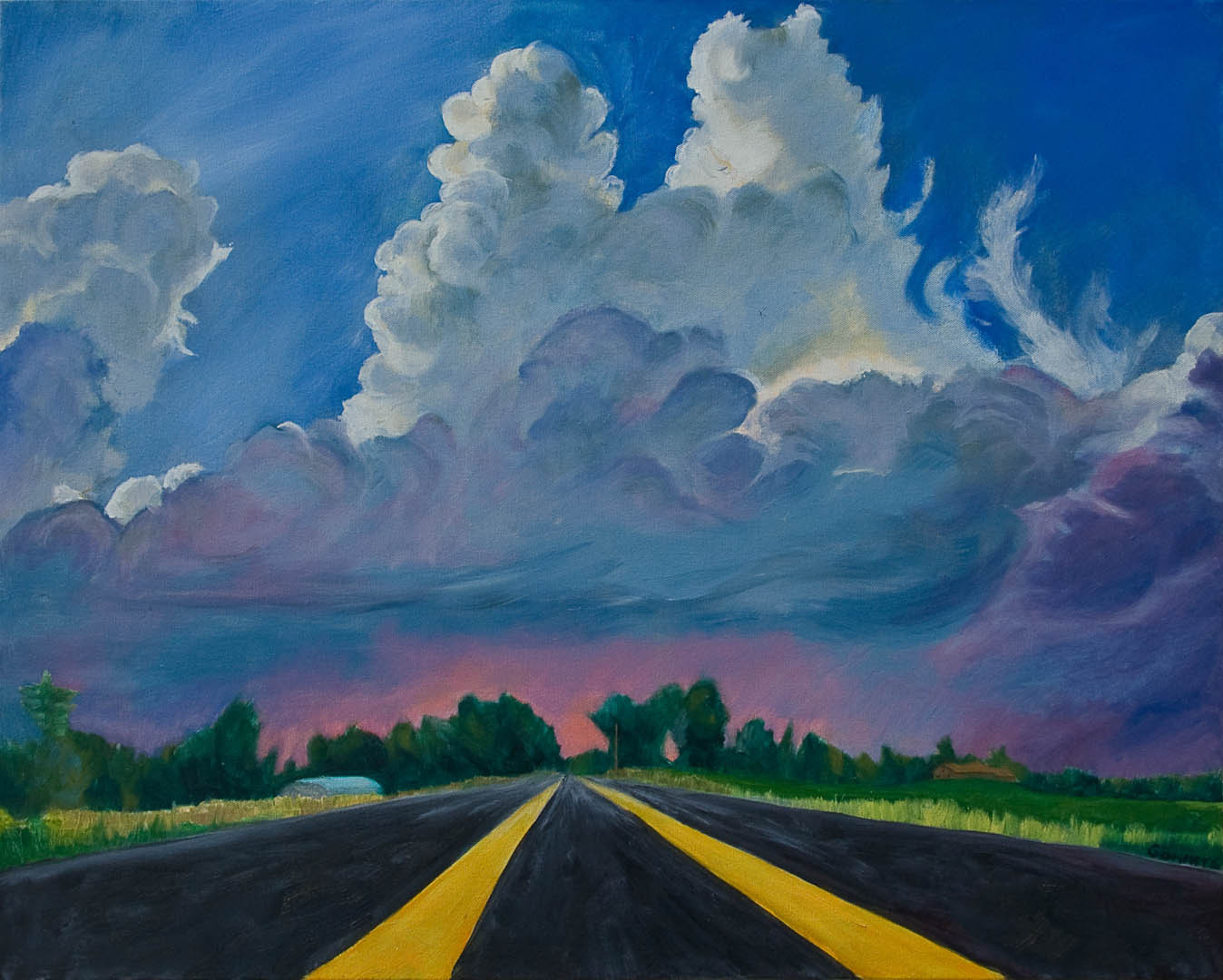 """01 Blue Yonder, Oil on canvas 24 x 30"""" , (sold)"""