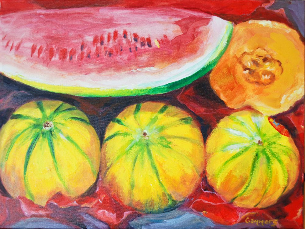 "08 Melons I, 12x16"", oil on wrapped canvas (sold)"
