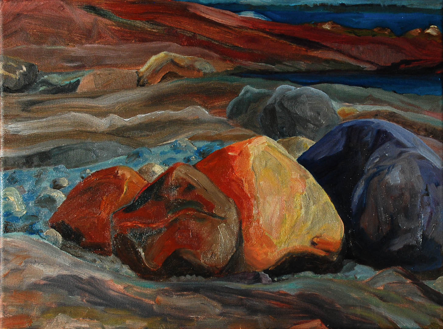 "06 Sacred Boulders, Oil on Canvas 16 x 12"" $1200"