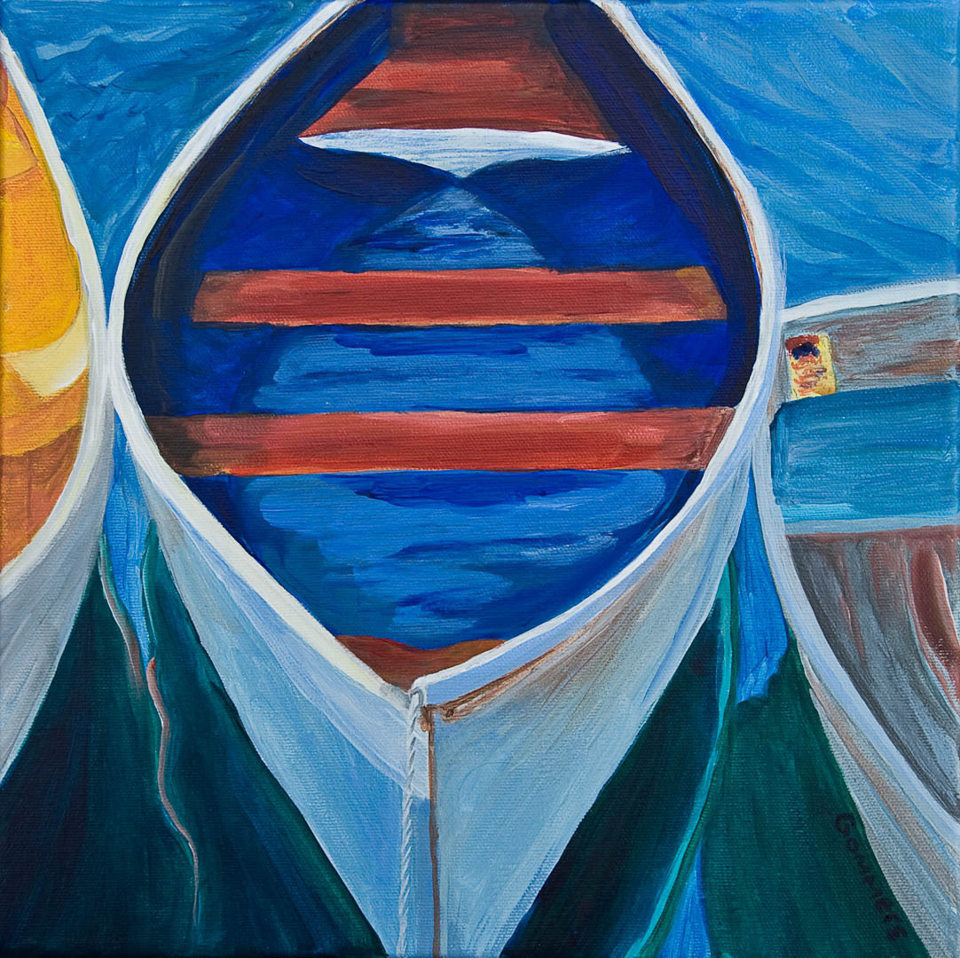 11 Three Skiffs, Acrylic on canvas 12 x 12, (sold)