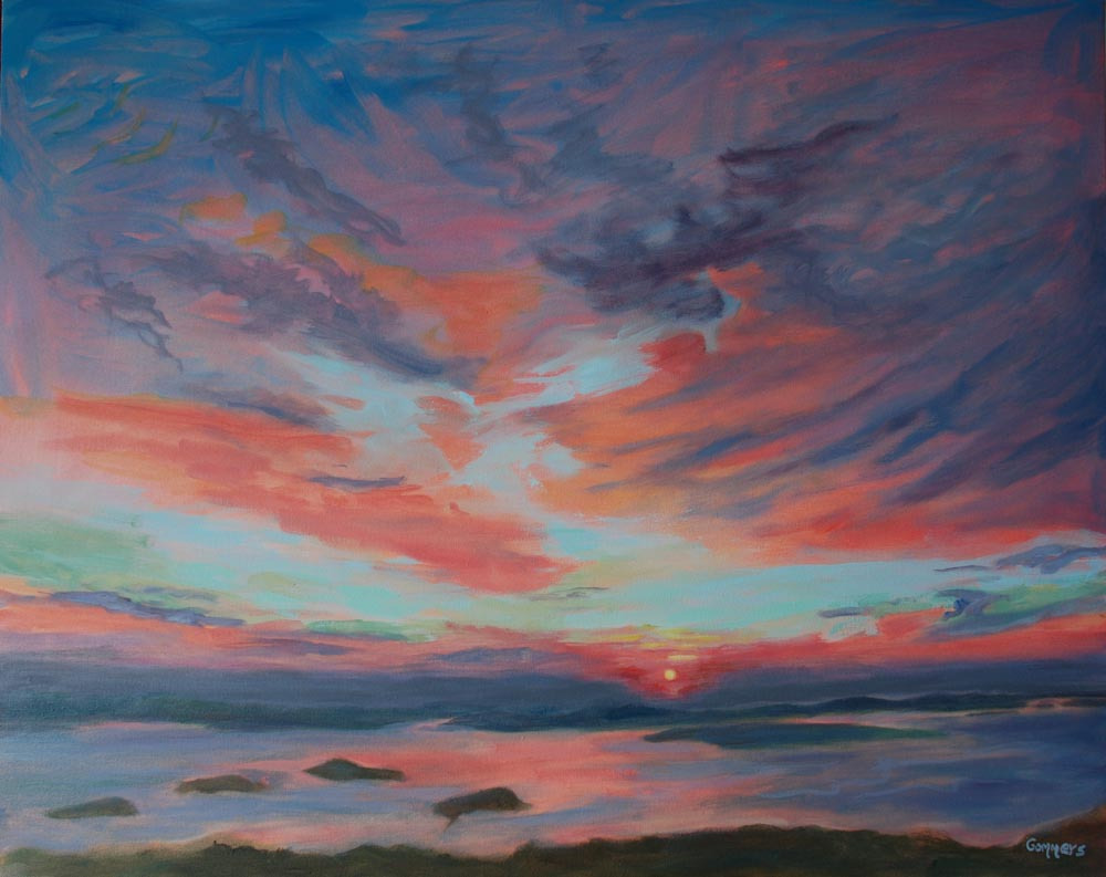 "02 Sunrise over Bar Harbor, Oil on canvas, 24 x 30"" (sold)"