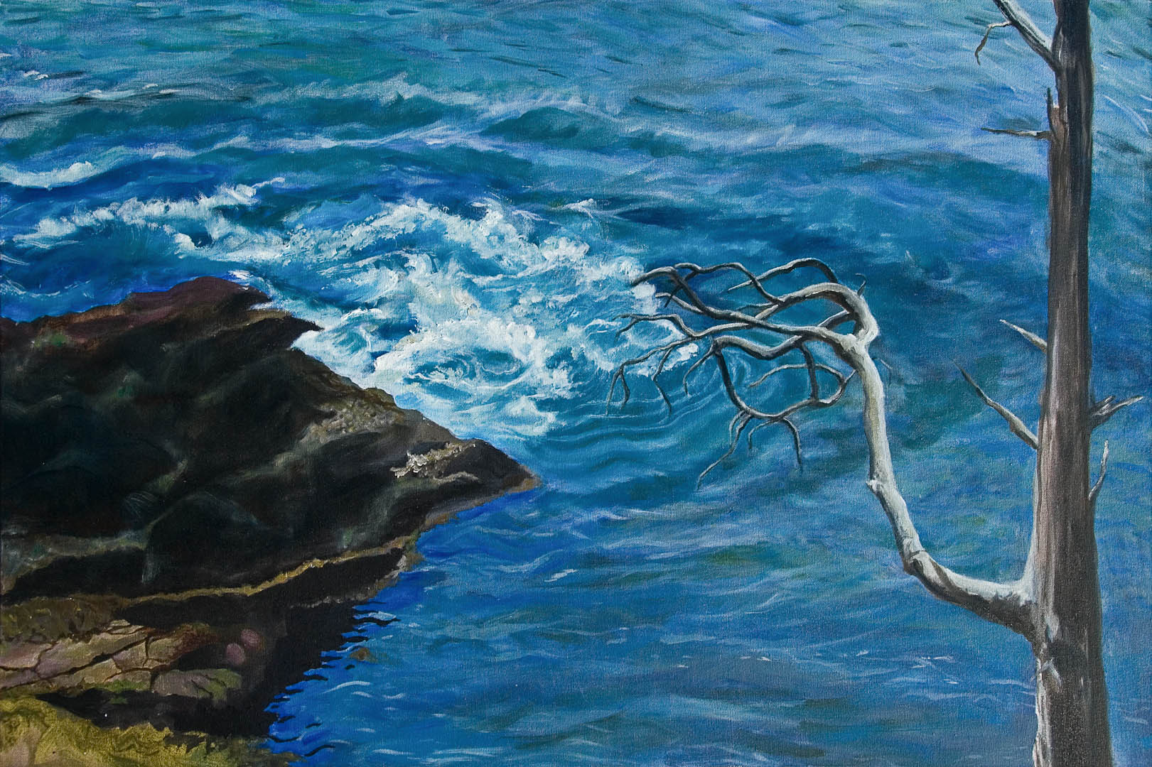 "03 Stirring the Waters, mixed media on canvas, 24 x 36"",  $2600"