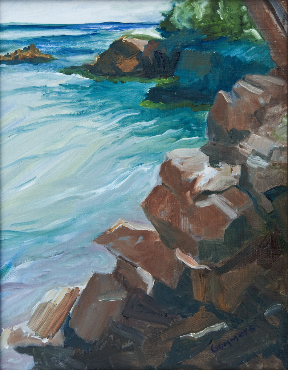 "09 Rocks at East Quoddy Light, Campobello, Oil on canvas 12 x 16"" (sold)"