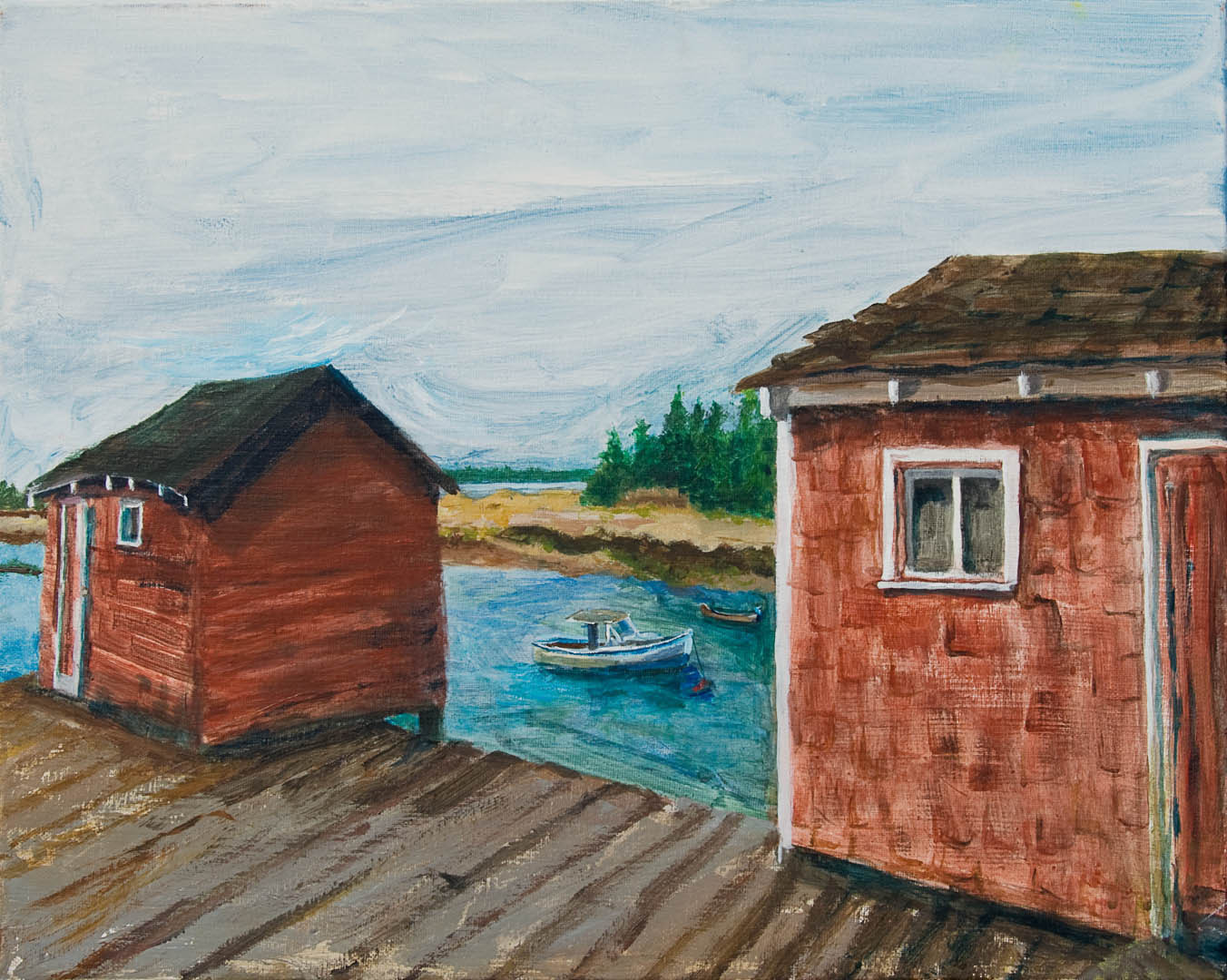"07 Jonesport lobster shacks, Acrylic on canvas 16 x 20"" , $1600"
