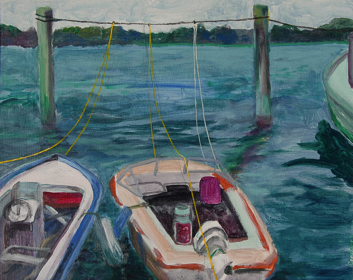 "10 Tethered in Bristol Harbor, Acrylic on canvas. 16 x 20"" $1600"