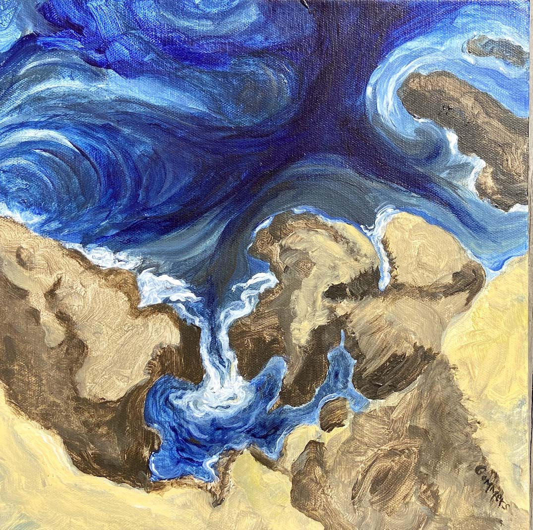 """04 Currents swirl, Acrylic on canvas, 12x12"""", wrapped 1 1/2"""""""