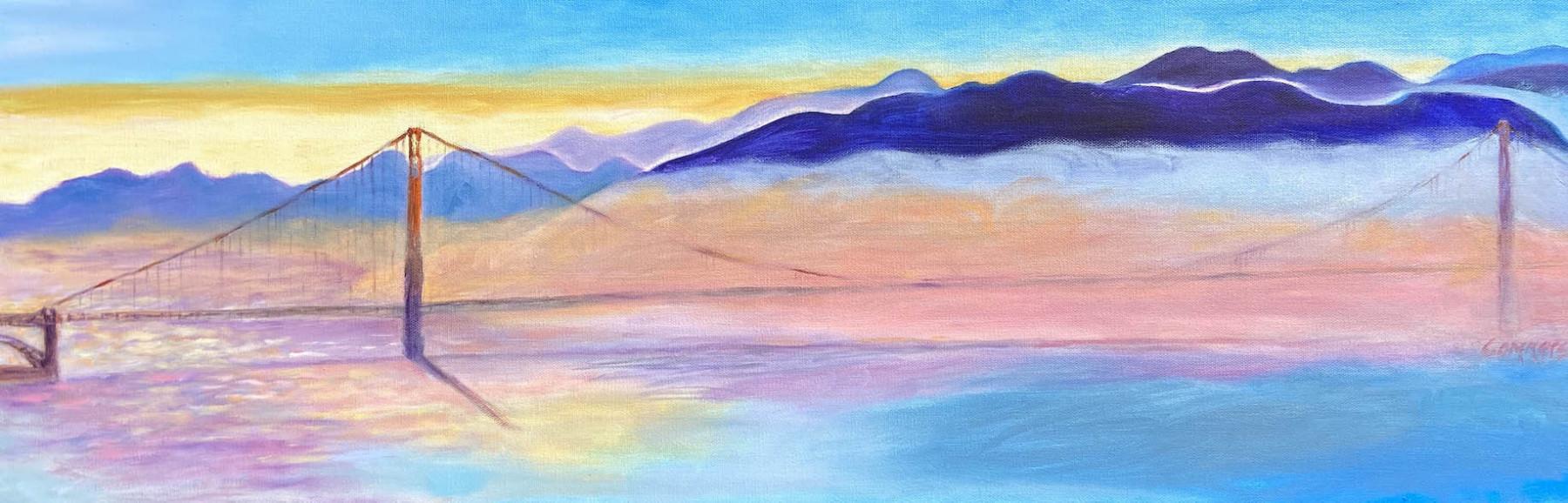 "02 Golden Gate Bridge, Acrylic on canvas, 10 x 40"""