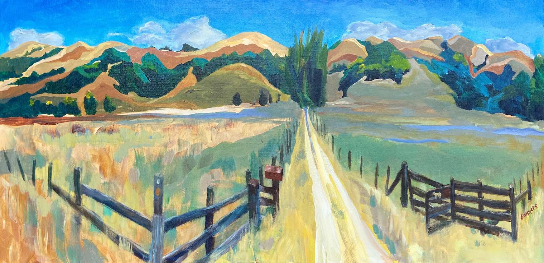 "01 Ranch in San Geronimo Valley, Acrylic on canvas, 18 x 36"""