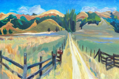 01 Ranch in San Geronimo Valley, Acrylic on canvas, 18 x 36""